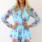 Black jump suits/rompers - blue long sleeve floral print | ustrendy