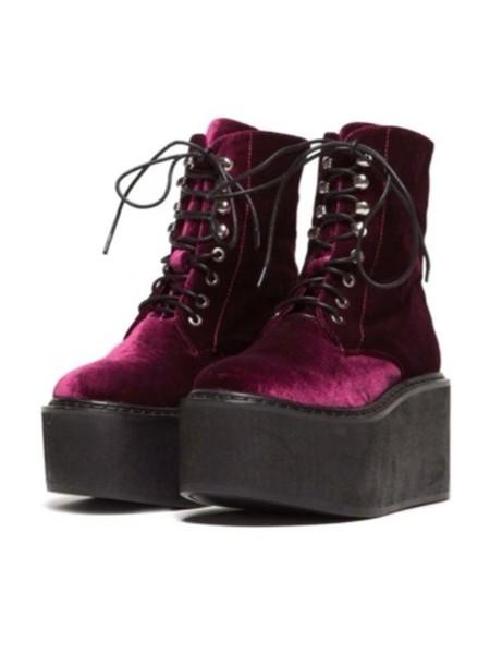 shoes goth velvet burgundy DrMartens grunge boots platform shoes