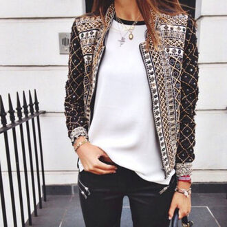 jacket blazer coat boho bohemian blogger studded knit