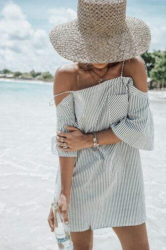 dress tu hat off the shoulder off the shoulder dress mini dress summer dress summer outfits summer accessories sun hat