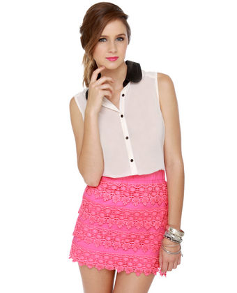 Hot Pink Skirt - Lace Skirt - Mini Skirt - $39.00