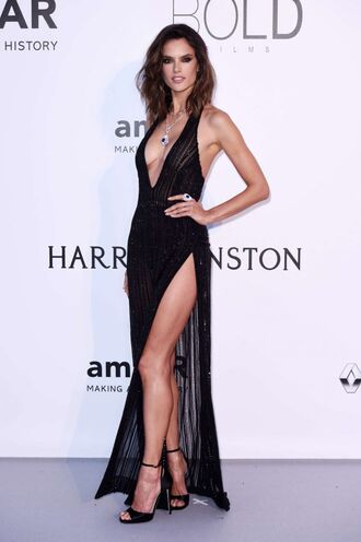 dress slit dress gown prom dress alessandra ambrosio black dress sandals cannes sexy sexy dress plunge v neck plunge dress shoes backless dress