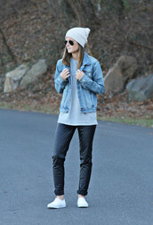 to be bright,blogger,denim jacket,beanie,leather pants,jeans,leggings,jacket,hat