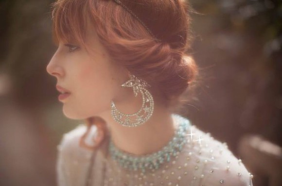 jewels earrings star moon glitter diamonds party christmas h&m new year's eve outfit miss pandora hipster wedding