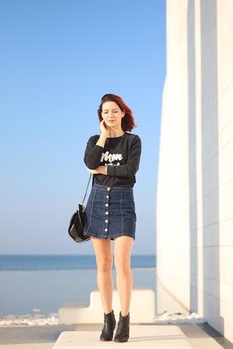 estelle blog mode blogger button up denim skirt denim skirt button up skirt