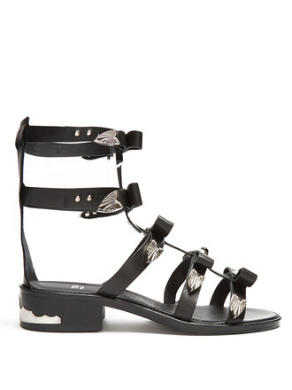 bow embellished sandals leather black shoes