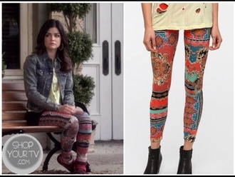 pants ppl pretty little liars aria montgomery lucy hale leggings