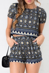 romper,printed romper,zaful,two-piece,twin set,crop tops,shorts,summer,summer outfits,floral,high waisted,navy print,floral romper,hipster,back to school,cute