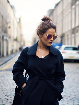 coat tumblr black coat sunglasses mirrored sunglasses hair bun brunette hairstyles bag black bag necklace gold necklace gold jewelry jewels jewelry french girl style navy coat wool coat blogger the little magpie