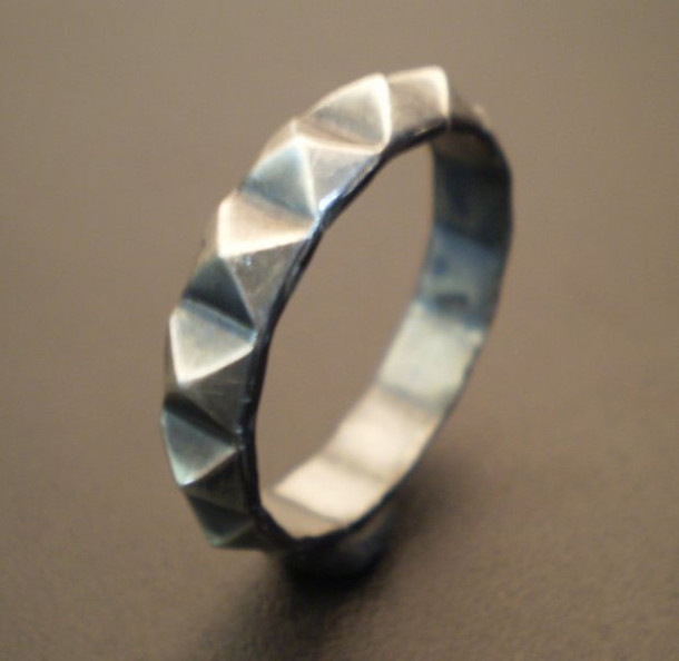 pyramid sterling silver punk rocker tattoo frantic jewelry jewels