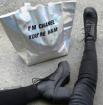black boots silver black jeans quote on it bag holographic bag holographic h&m chanel glamour glamour bag metallic bag