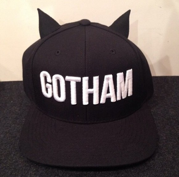 hat black cap snapback snapback hat ears bat batman goth gotham wings