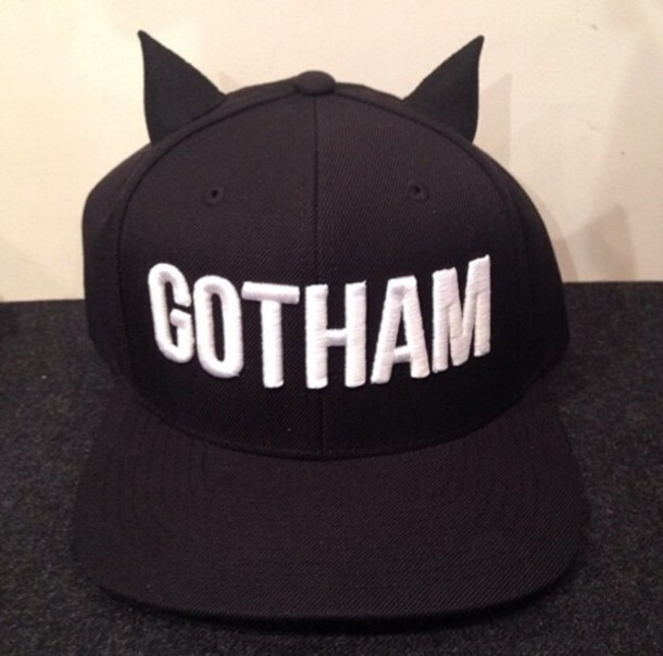 hat cap snapback snapback black ears bat batman goth gotham wings halloween ffb1468e2ed