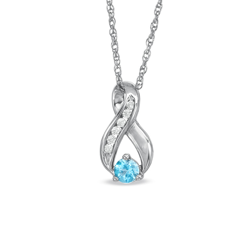4.0mm Blue Topaz and 1/10 CT. T.W. Diamond Infinity Loop Pendant in Sterling Silver