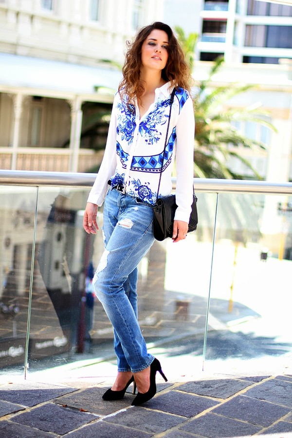 fashion container jeans blouse shoes bag belt sunglasses