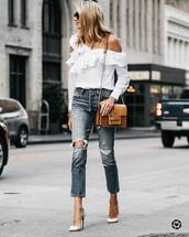 shirt,ruffled top,tumblr,white shirt,one shoulder,ruffle,denim,jeans,blue jeans,pumps,pointed toe pumps,high heel pumps,bag,brown bag
