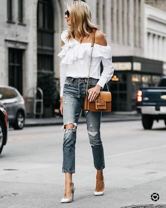 shirt ruffled top tumblr white shirt one shoulder ruffle denim jeans blue jeans pumps pointed toe pumps high heel pumps bag brown bag