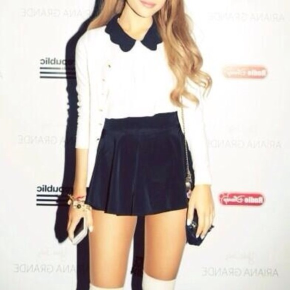 blouse collar peter pan collar white black ariana grande ariana peter pan navy skirt bag dress black skirt shirt shoes