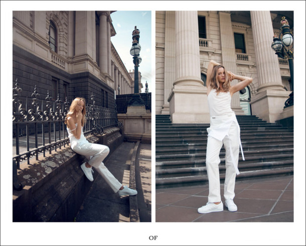 oracle fox blogger all white everything white tank top white pants