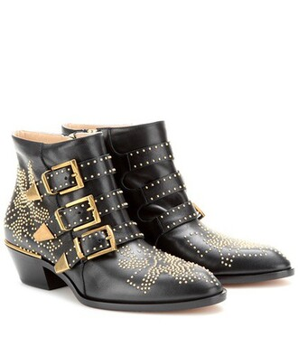 leather ankle boots studded boots ankle boots leather black shoes