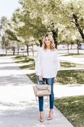 ivory lane,blogger,top,jeans,shoes,bag,pumps,skinny jeans,summer outfits