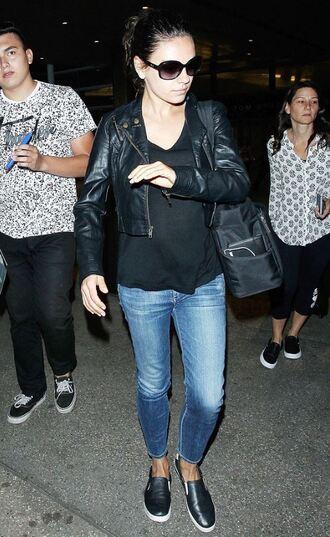 jeans jacket biker jacket mila kunis flats sunglasses