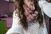 scarf,infinity scarf,infinity,aztec,sweater,t-shirt,white,holey knit
