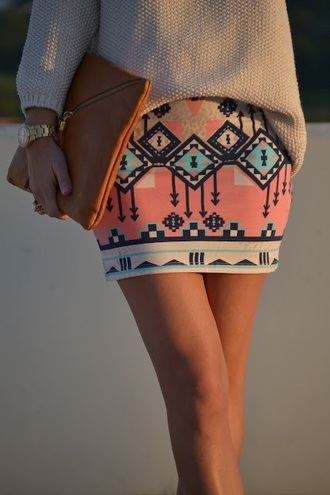 skirt tribal pattern mini skirt black peach blue white gold watch clutch long sleeves sweater