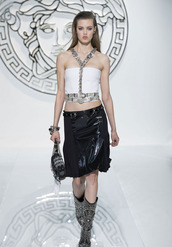 tank top,fashion,lookbook,versace,skirt,shoes
