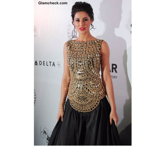 indian dress dress jewels black gold nargis fakhri anarkali bollywood anarkali suits bollywood
