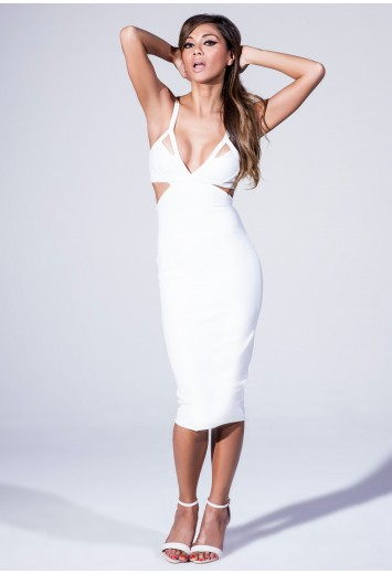 Plunge Neck Cut Out Midi Dress - Nicole x Missguided