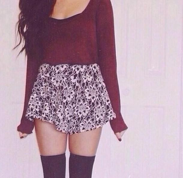 Shirt Maroon Shirt Long Sleeves Skirt Floral Skirt