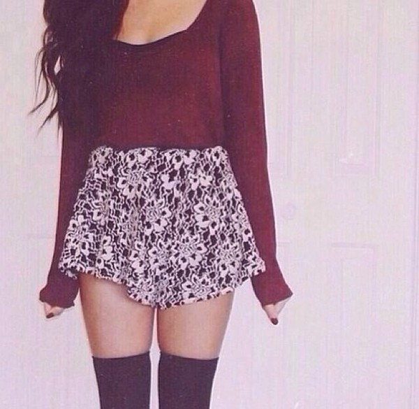 shirt maroon shirt long sleeves skirt floral skirt floral flowered shorts burgundy socks