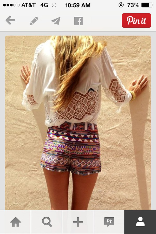 tribal shorts shorts white shirt white dress blouse