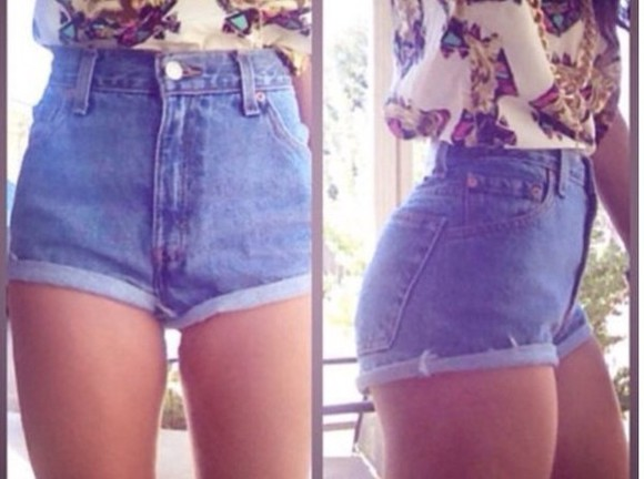shirt shorts denim shorts tshirt summer tank top highwaisted shorts high waisted shorts ripped top high waist hipster crop crop tops hot pants skater skate roll up roll up shorts vintage cute sun beach surf sea prints print print top