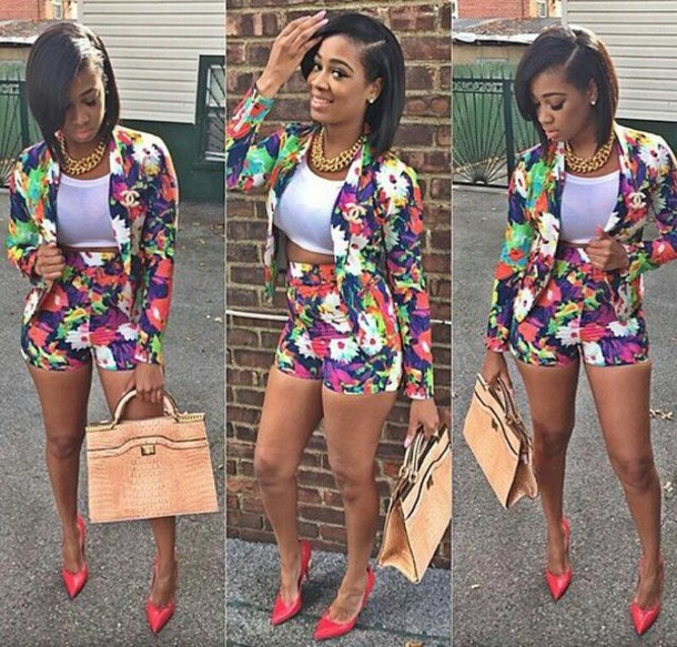 jumpsuit jacket floral crop blazer floral set white green pink yellow black floral orange purple chanel chanel t-shirt sweater floral skirt cardigan shorts top bag jewels