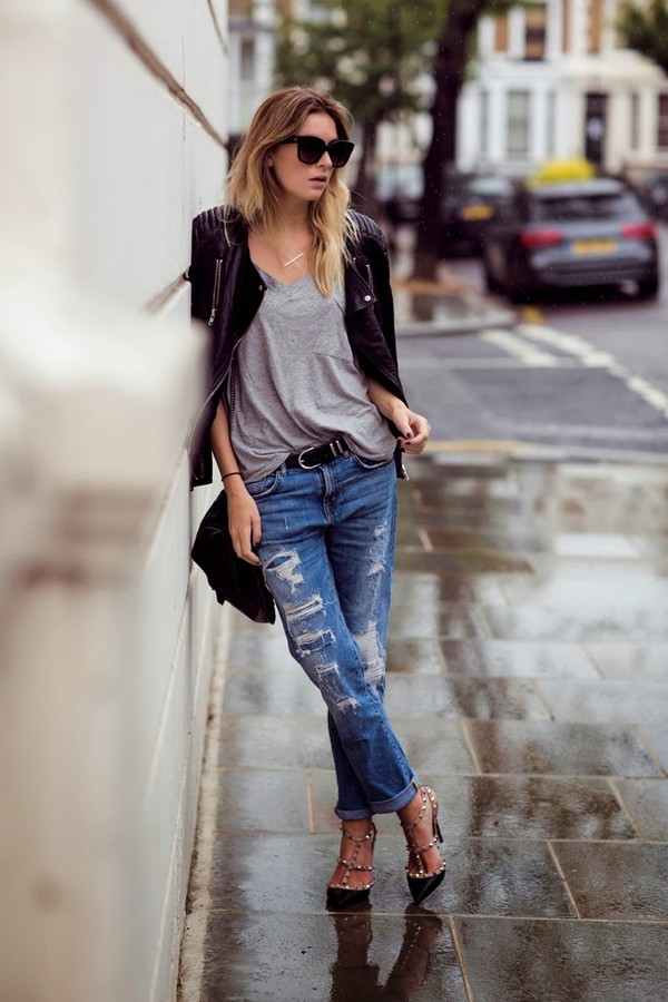 Hot Womens Ladies Loose Crop Ripped Distressed Boyfriend Denim Jeans Pants s XL   eBay