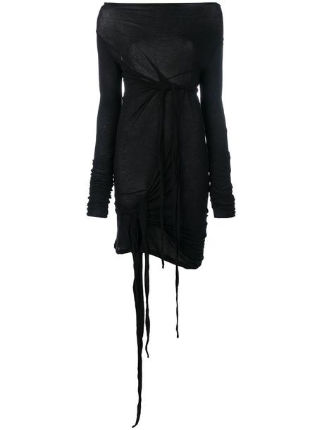 Rick Owens Drkshdw - draped top - women - Cotton - L, Black, Cotton