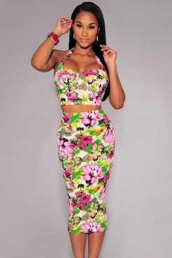 Halter Slit Back Bustier Top 2 pieces Floral Print Green Skirt Set