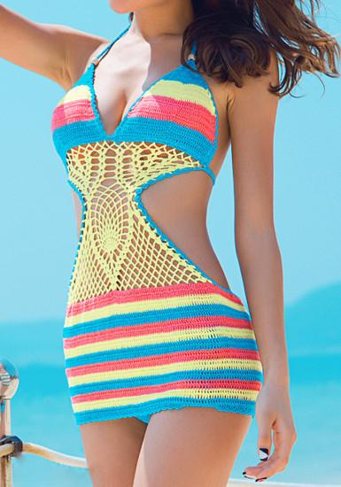Crochet rainbow swimwear