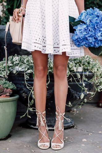 shoes sandals white sandals high heel sandals lace up heels dress white dress bag nude bag bucket bag flowers