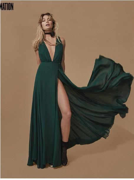 7c4159608733 dress dark green low cut dress thigh high slit reformation reformation dress  forest green evergreen maxi