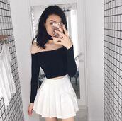 skirt,black off shoulder top,white pleated skirt,blogger