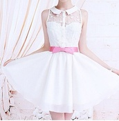 dress,lace,lace dress,white,girly,pink,bow,pastel,vintage,button up