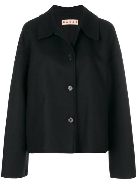 MARNI cropped women black wool coat
