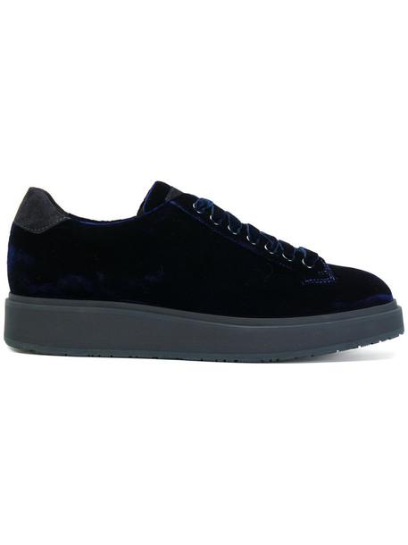 Santoni women sneakers lace leather blue velvet shoes