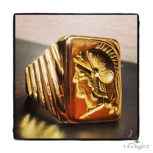 Mens Custom Jewelry Gladiator Ring Mens Pinky Ring Yellow Gold 18k