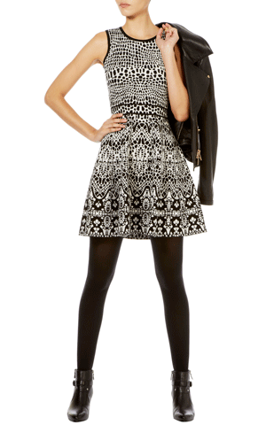 The New Lady |  LACE JACQUARD KNIT DRESS  | Karen Millen