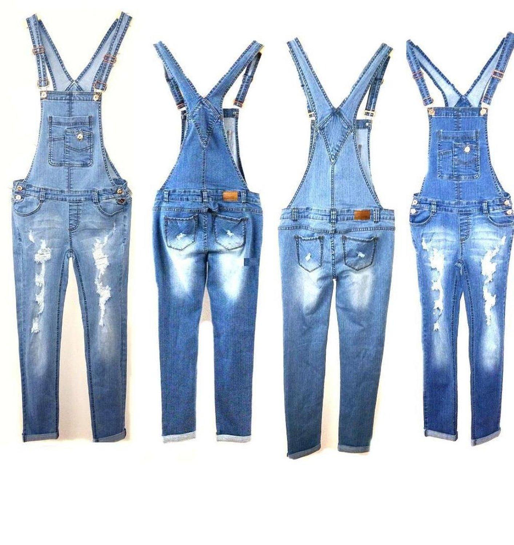 Women Denim JEANS Overall Destroy Long Skinny Pants Jumper Ripped ...