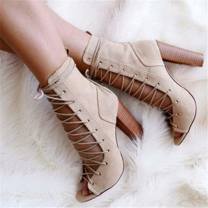 Beige Lace up Boots Suede Peep Toe Chunky Heel Ankle Boots